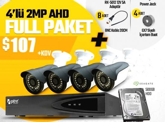 Goldnet 4lü 2mp ahd kamera seti