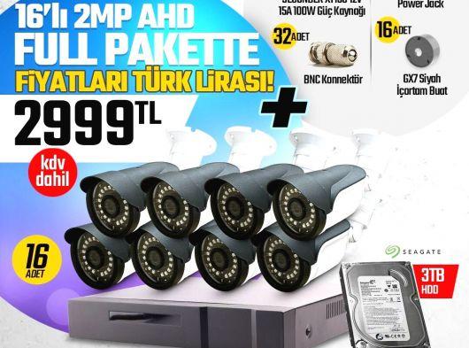 16 Kameralı 2MP AHD Güvenlik Seti